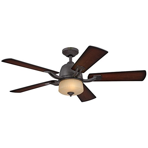7201800 Ripley Two-Light 52-Inch Reversible Five-Blade Indoor Ceiling Fan, Brownstone with Amber Mist