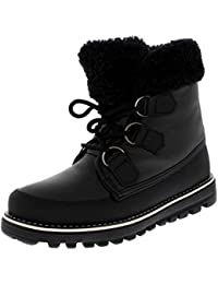 Womens Quilted Short Faux Fur Snow Waterproof Winter Durable Side Zipper Sneaker Boots