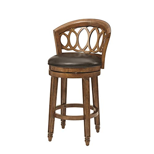 Hillsdale Adelyn Swivel Bar Height Stool in Brown Cherry Finish