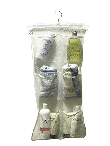 ACECLE Quick Dry Bath Shower Caddies Organizer 6 Pockets 1 Rotatable Hanger Hanging On Curtain
