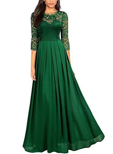 Miusol Women's Formal Floral Lace Wedding Bridesmaid Maxi Dress (X-Large, Dark Green)