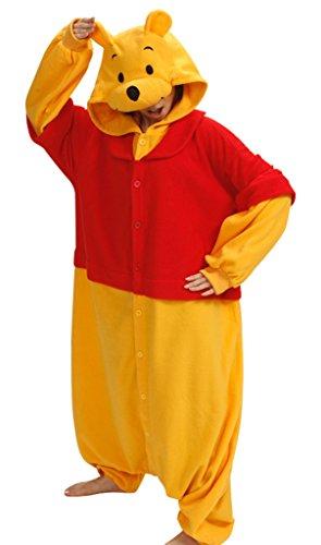 [Gillbro Anime Adult Animal Cosplay Costume Pajamas,Winnie the Pooh,S] (Disney Cartoon Mad Hatter Costume)