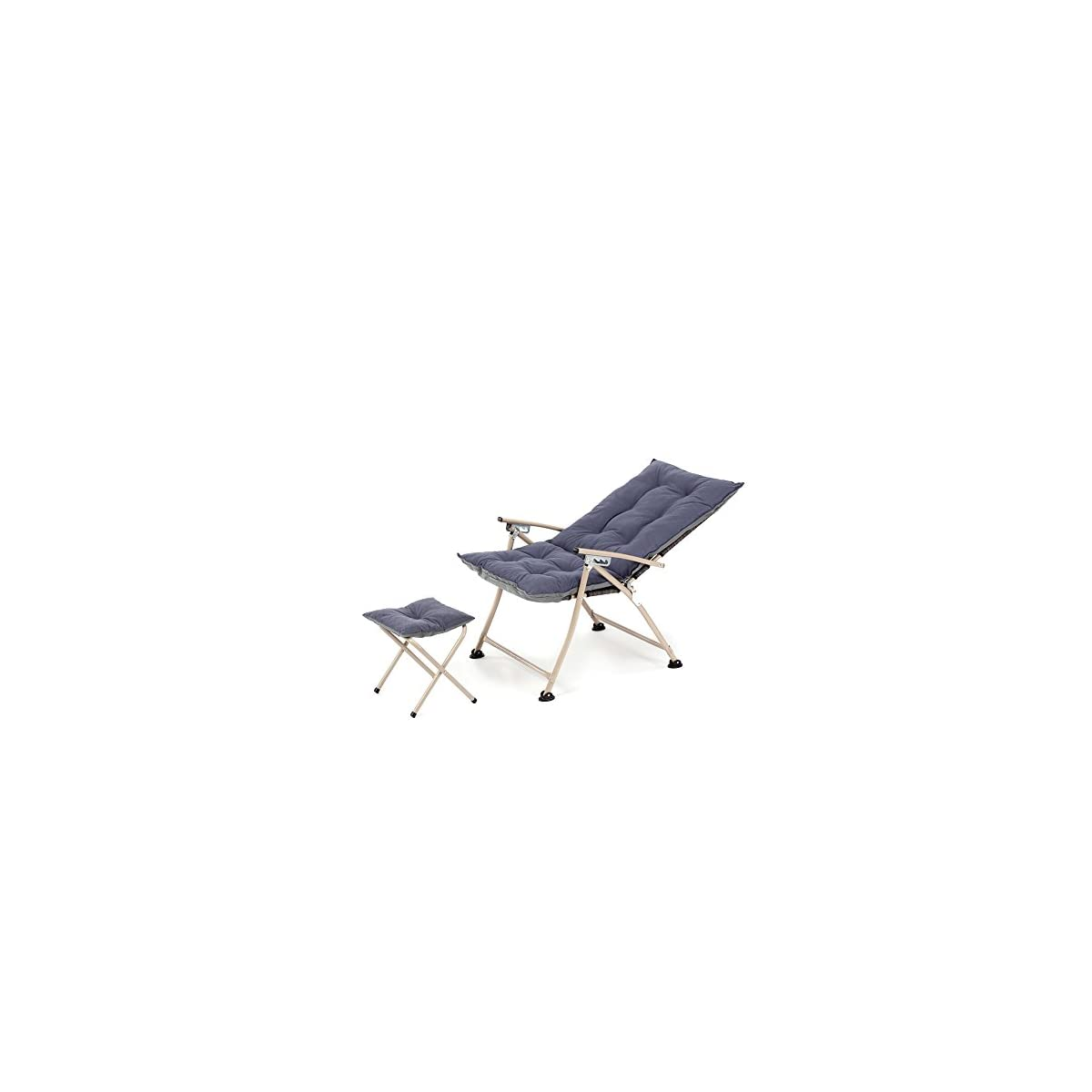 Admirable Campland Deluxe Padded Reclining Chair With Footrest Adjustable Camping Fishing Folding Cushion Relax Lazy Chair Creativecarmelina Interior Chair Design Creativecarmelinacom