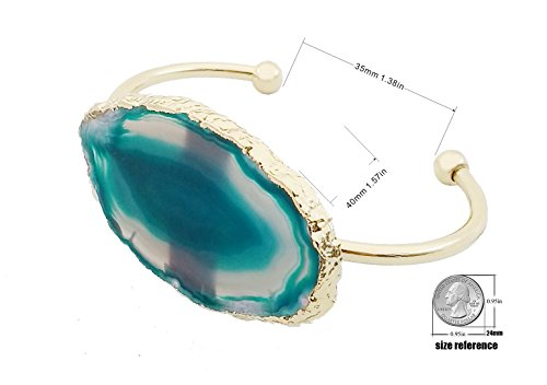 CILILI Natural Stone Agate Bangle Bracelets Rose Gold For Women or Girl (Green) by CILILI (Image #2)