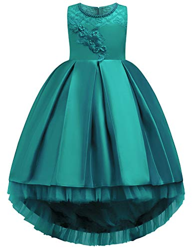 Princess Dress for Girls, Joymom Girls Round Neck Satin A Line Form Fitting Big Ribbon Tie Puffy Embroidered Deluxe Wedding Gown with Crinoline Bubble Dress Green 120(5Y)