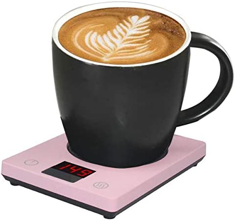 Coffee Warmer for Desk Mug WarmerCup 3 Temperature Setting Beverage WarmerAutomatic Shut Off for MilkCoffeeTea(Pink)