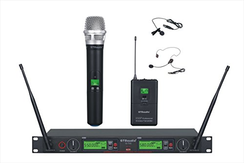 GTD Audio 2x800 Channel UHF Diversity Wireless Hand-held/Lavalier/Lapel/Headset Microphone Mic System 733 (1 Hand held & 1 Lavalier Mic)