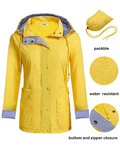 - Anboer Lightweight Waterproof Rain Jacket Active Outdoor Hooded Raincoat for Women Yellow XXL