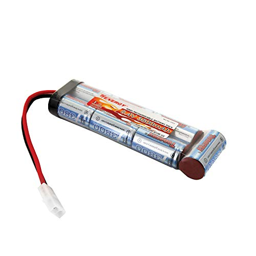 Tenergy Airsoft Battery 8.4V NiMH Flat Battery Pack with Standard Tamiya Connector High Capacity 3800mAh Battery for Airsoft Guns, RC Cars, RC Planes