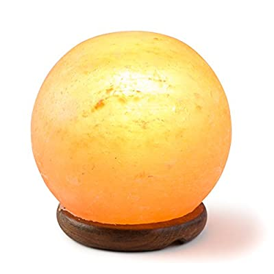 [Hand Crafted] HemingWeigh Rock Salt Sphere Lamp 12 Cm with Wood Base, Electric Wire and Bulb
