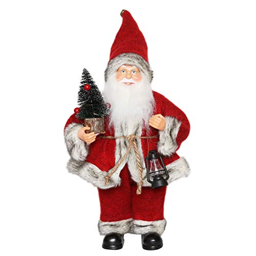 CHENGMON Christmas Santa Claus Ornament Decoration Figurine Collection Standing Tradition Tabel Decor Red Black with Oil Lamp and Pine Tree 12