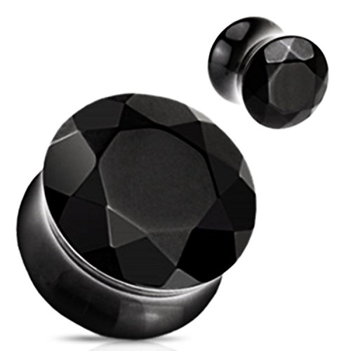 - Black Agate Stone Faceted Gem Cut Double Flared Plugs - Sold as Pairs (2G)
