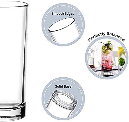 Amisglass 6 Piezas Copas de Espumoso Highball Glass, Copa de Champán sin Tallo, Vasos Cristal para Bebidas Mixtas, Largas, Agua, Vaso Vidrio Claridad para Bebidas, Zumo, Vino, Cóctel - 300 ml