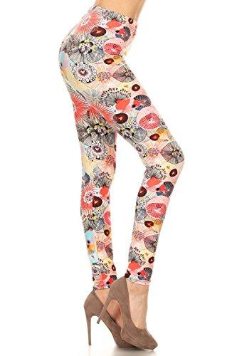 R647-EXTRAPLUS Floral Parasol Print Fashion Leggings ()