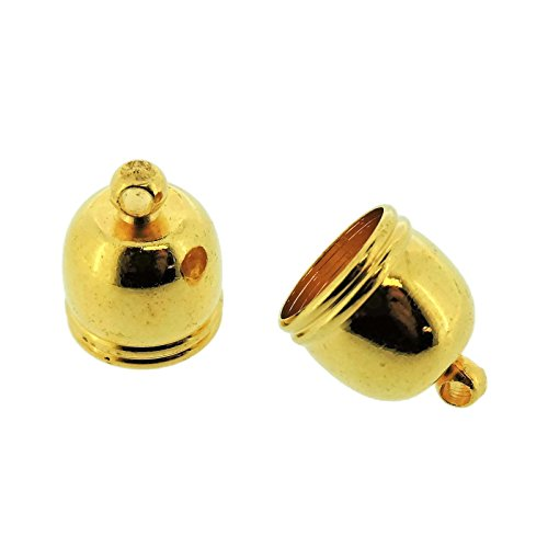 Bell End (Jewelry Making End Caps - Bell End Cap 12x10mm, Inner Diameter 8.5mm, 20 Pcs (Gold Tone))