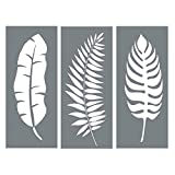 painting designs on walls Leaf Stencil Set - Pack of 3 Unique Leaf Wall Stencil Designs for Painting - Use This Leaf Stencil Kit to Update Your Home Decor