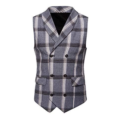 Men's T-Shirts Clearance WEUIE Men Plaid Button Casual Print Sleeveless Jacket Coat British Suit Vest Blouse (2XL, Gray ) by WEUIE