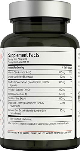 LES Labs Liver Support, Liver Cleanse Supplement for Healthy Liver Function, Detox & Glutathione Production with Milk Thistle, NAC & Dandelion, 90 Capsules