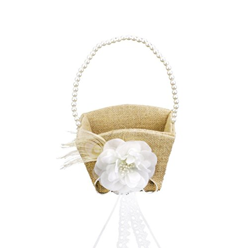 Tinksky Flower Gril Basket Vintage Pearl Ribbon Flower Decorated Burlap for Wedding Ceremony Party