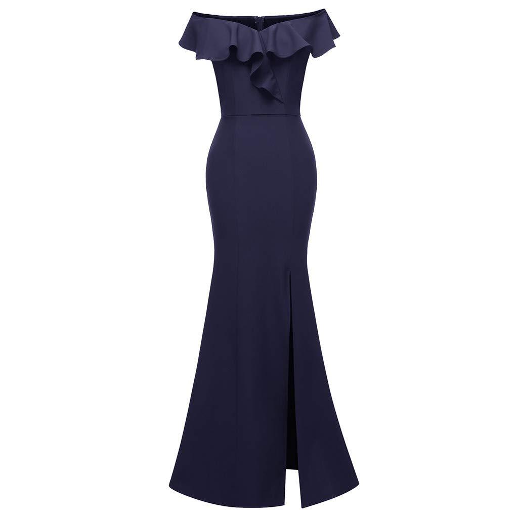 Women Off Shoulder Bodycon Maxi Dress V Neck Ruffle Side Split Slim Solid Formal Wedding Evening Party Club Dresses (Large, Navy)