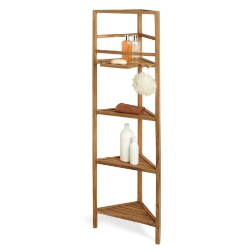 "363428 59"" Teak Corner Bathroom Shelf"