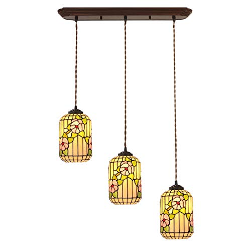 (YJFFAN Chinese Plum Blossom 3-Head Restaurant Chandelier Tiffany Handmade Stained Glass Dining Table Pendant Light Ceiling Hanging Lamp Suitable for Bars, Home E27,100-240V)
