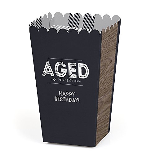 Milestone Happy Birthday - Dashingly Aged to Perfection - Birthday Party Favor Popcorn Treat Boxes - Set of 12