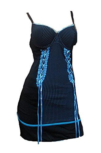 Aimerfeel camisón de la muñeca atractiva con la cinta azul marino de tamaño 38-40 Negro / Azul