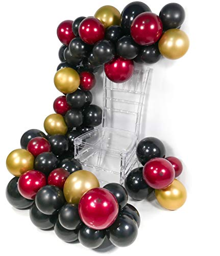 PartyWoo Red Black Gold Balloons, 45 pcs Balloon