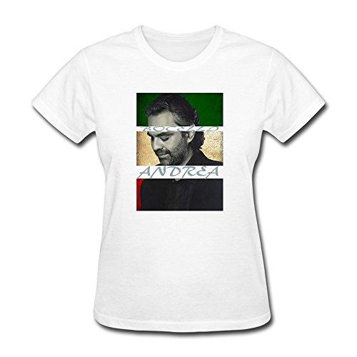 Jiaso Women's ANDREA BOCELLI T Shirts Large White