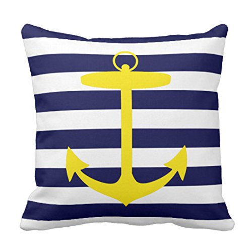 (Emvency Throw Pillow Cover Stripes Nautical Yellow Anchor Blue Neon Decorative Pillow Case Home Decor Square 18 x 18 Inch Pillowcase)