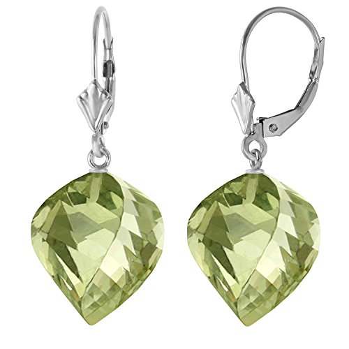 26 CTW 14k Solid White Gold Leverback Earrings Twisted Briolette Green Amethyst