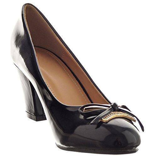 Sopily - Zapatillas de Moda Tacón escarpín Decollete Stiletto Abierto decollete Tobillo mujer brillantes nodo strass Talón Tacón ancho 7 CM - Negro