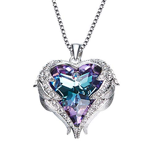 Birthday Gifts Heart of The Ocean Women Jewelry Necklace Crystals Pendant, Gifts for Mom (Purple)