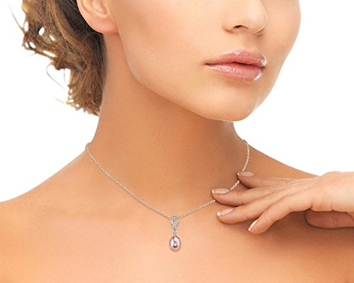 THE PEARL SOURCE 7-8mm Genuine Pink Freshwater Cultured Pearl Cubic Zirconia Delia Pendant Necklace for Women