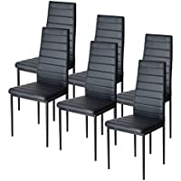 EBS Dining Room Chairs Kitchen Side Chairs with High Back Support and PU Leather, Black, Set of 6