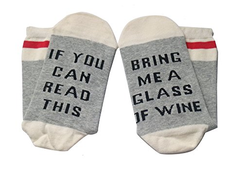 Women's Cotton Funny Crew Socks Novelty Funky Cute Wine Party Hosiery (Gray - Me For Best Glasses