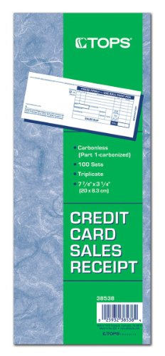 (TOPS Credit Card Sales Slips, 3-Part, Carbonless, White, 3-1/4 x 7-7/8 Inches, 100 Sets per Pack, 5 Packs)