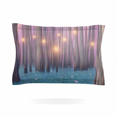 KESS InHouse Viviana Gonzalez ''Pink Feather Dance'' Digital Blue Pillow Sham, 40'' x 20'' by Kess InHouse