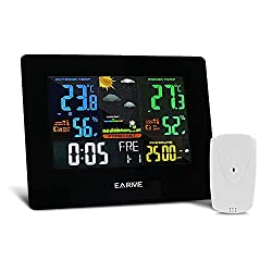 Wireless Weather Station with Large LCD Colored Screen Indoor/Outdoor Station 35M(114ft) Wireless Range with Alarm Clock,USB Charge Port,Intelligent Memory Function,Backlight for Temp