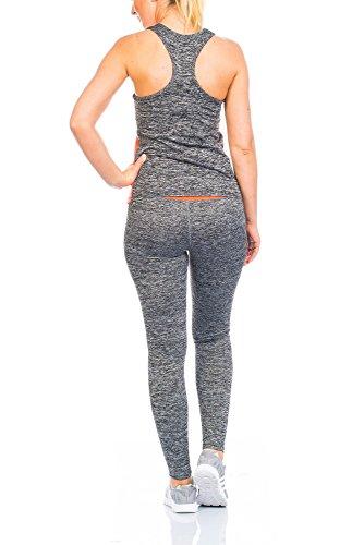 Mujer Dos 2tlg Chándal para unidad Traje Chándal Correr Jogging Pantalones Leggings Pantalones Skinny con Top Camiseta Tirantes Top Tirantes naranja neón