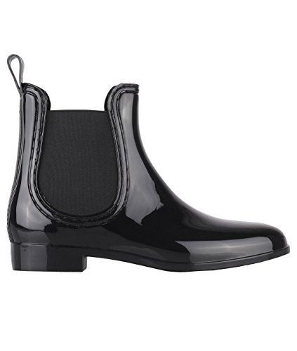 Femmes Chelsea Talon Au Et Noires Chaussures Dos 5478 Cheville Zip Plat La Bottes Pour Avec qpXt7