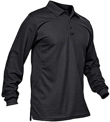 KEFITEVD Camisa Deportiva Hombre Camisa Militar de Manga Larga Polo Camisa táctica de Secado rápido Negro: Amazon.es: Deportes y aire libre