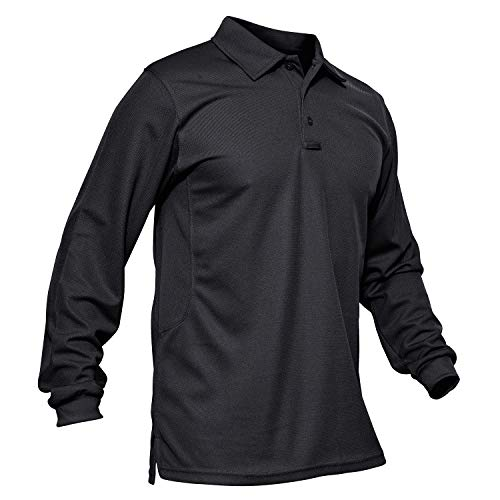 MAGCOMSEN Golf Polo Shirt Men Long Sleeve Jersey Polo Shirt Military Polo Shirts for Men Black ()
