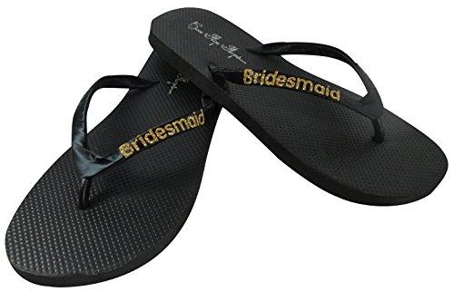 Bridesmaid Flip Flops Wedding Bling Gift Shower Bridal Bride Glitter Satin Flip Flops Gold Black Beach Shoes
