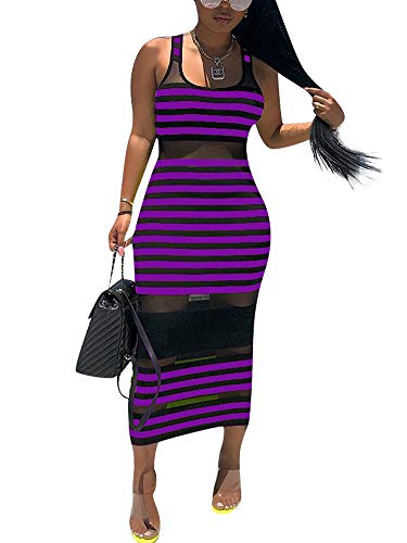 (Remxi Women Sexy Tank Maxi Dress Sleeveless Crew Neck Mesh Patchwork Party Long T-Shirt Dress Purple Black XX-Large)