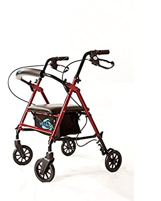 """Super Light Rollator Lightweight Aluminum Loop Brake Folding Walker Adult W/height Adjustable Seat By Legs and Arms w/ 6"""" Wheels By Healthline Trading"""