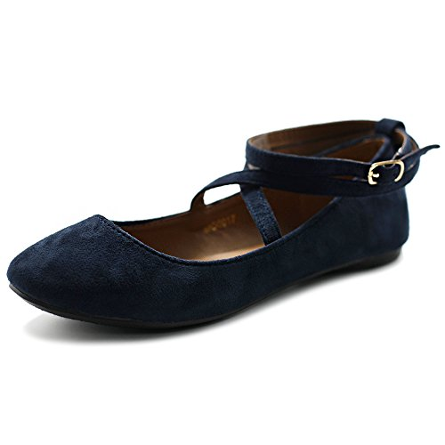 Cross Strap Mary Jane - Ollio Women's Shoe Light Comfort Faux Suede Cross Strap Ballet Flats MG17(8.5 B(M) US, Navy)
