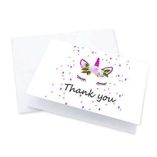 Unicorn Thank You Cards - 4 x 7 Inches of 50 Blank Note Cards with Envelopes - Perfect for Kids and Birthday Parties, Write Happy Gift Notes for Baby, Graduation, Wedding - Magical Pink Unicorn Design -