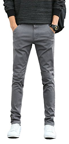 Plaid&Plain Men's Skinny Stretchy Grey Pants Colored Pants Slim Fit Slacks Tapered Trousers 819 Grey 31X34 ()